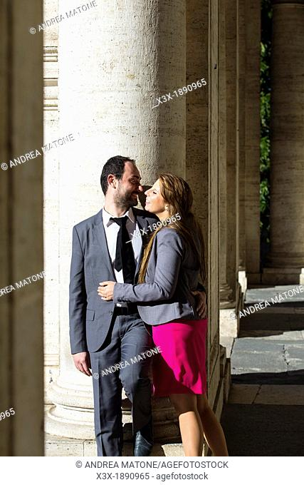 Engagement couple Piazza del Campidoglio in Rome Italy
