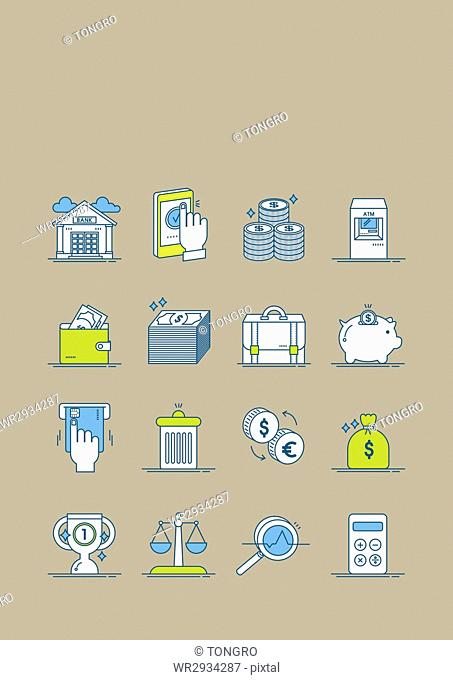 Various icons related to economy