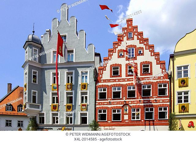Colorful facades of buildings in the Old Town district in the City of Landshut, Bavaria, Germany, Europe