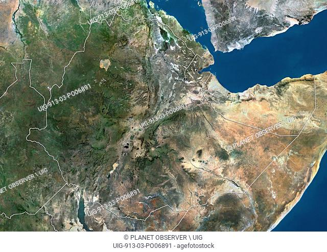 Satellite view of Ethiopia and Djibouti (with country boundaries). This image was compiled from data acquired by Landsat satellites