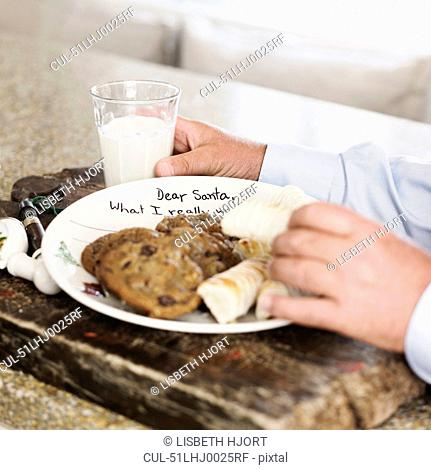 Plate of cookies and milk for Santa