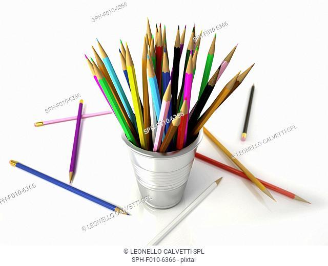 Colouring pencils in a pot, computer artwork