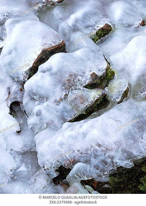 Icy face resembling Santa Claus. Riera Major stream. Montseny Natural Park. Barcelona province, Catalonia, Spain