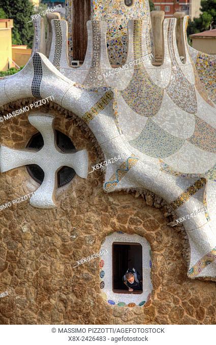 Pavilion at the entrance of Park Güell, Barcelona, Spain