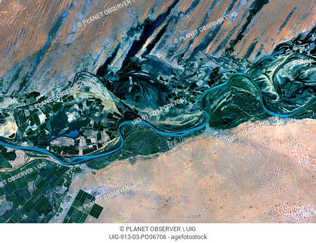 Satellite view of Senegal River that forms the border between Senegal and Mauritania in West Africa.This image was taken in 2014 by Landsat 8 satellite
