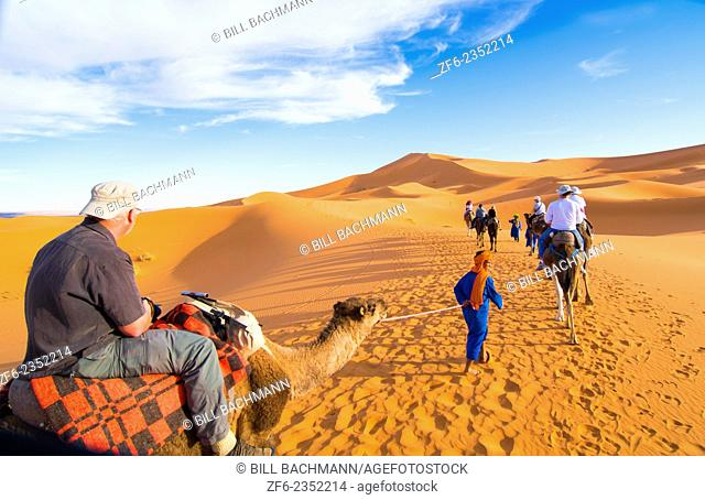 Morocco Sahara Desert sand dunes in Las Palmeras area with tourists riding camels on peaks and sand