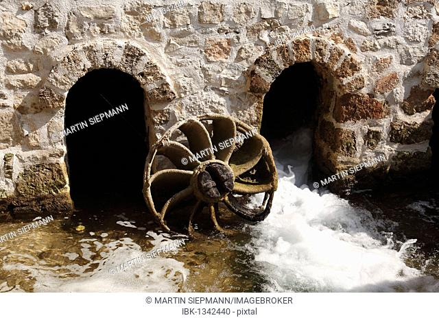Historic watermill on Roski Slap, Krka waterfalls, Krka National Park, aeibenik-Knin, Dalmatia, Croatia, Europe
