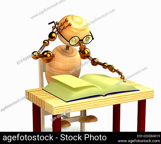 3d wood man reading book