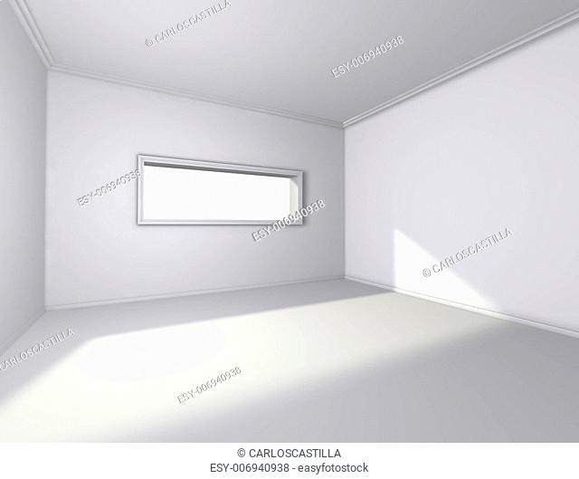 3d architecture of empty interior with window
