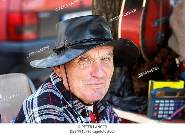 Old Bulgarian man at the flea market, Sofia, Bulgaria