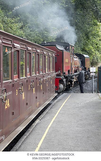 Steam Train at Caernarfon on Festinioc and Welsh Highland Railway; Wales, UK