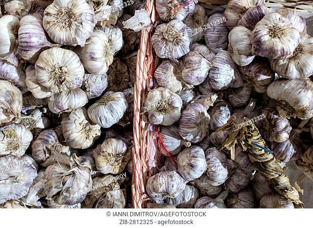 Garlic ( Allium sativum) on sale,Borough Market,London,UK