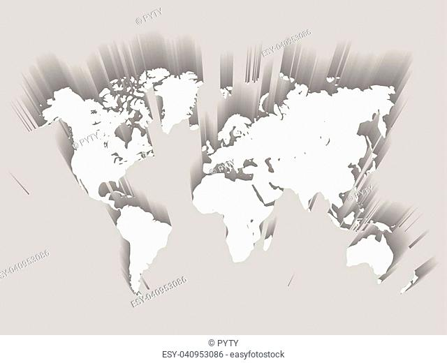White Vector Map of World. Modern flat design with dropped long shadow isolated on green background