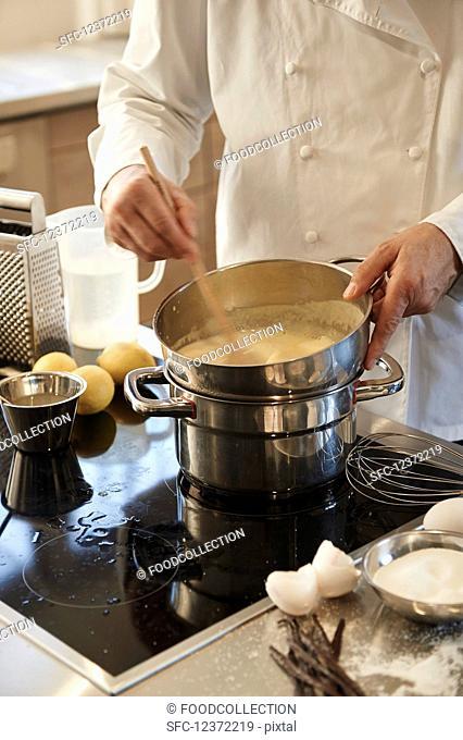 Creme brulee being prepared