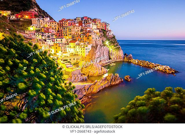 Blue hour in Manarona, Cinque Terre National Park, Liguria, Italy