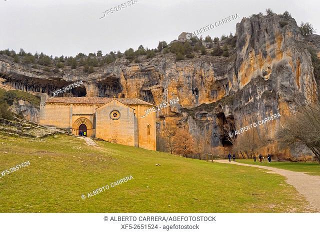 San Bartolomé Hermitage, 13th century, Romanesque Style, Style, Cañón del Río Lobos Natural Park, Special Protection Area, Soria, Castilla y León, Spain, Europe