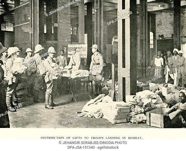 Old Vintage 1900s photo Distribution of gifts to British police in Bombay Mumbai Maharashtra India