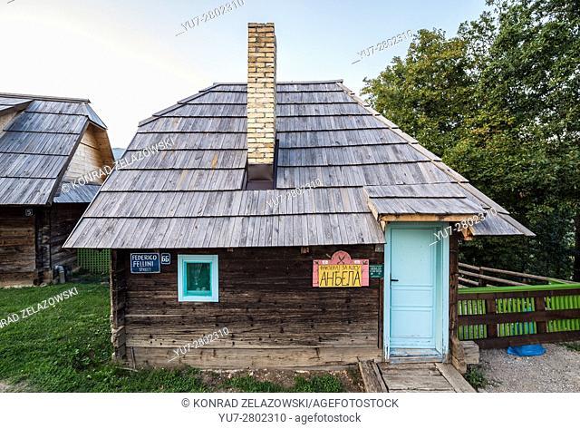 Hair saloon at Federico Fellini Street in Drvengrad village also called Kustendorf built by Emir Kusturica in Zlatibor, Serbia
