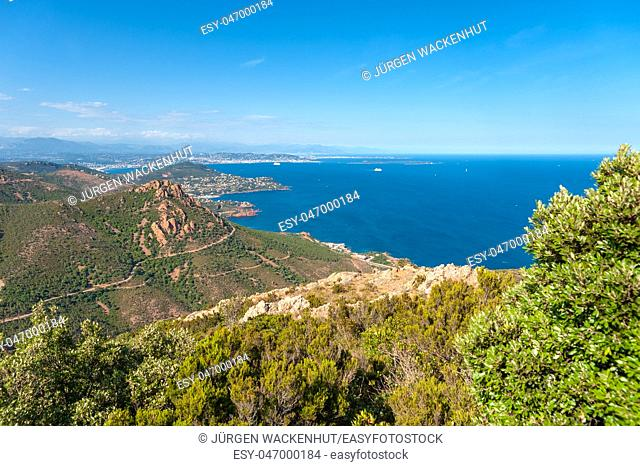 View from Pic du Cap Roux in the Massif de l'Esterel, Antheor, Var, Provence-Alpes-Cote d`Azur, France, Europe