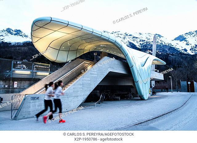 Hungerburgbahn, hybrid funicular railway, Loewenhaus station by Zaha Hadid, Innsbruck, Tyrol, Austria, Europe