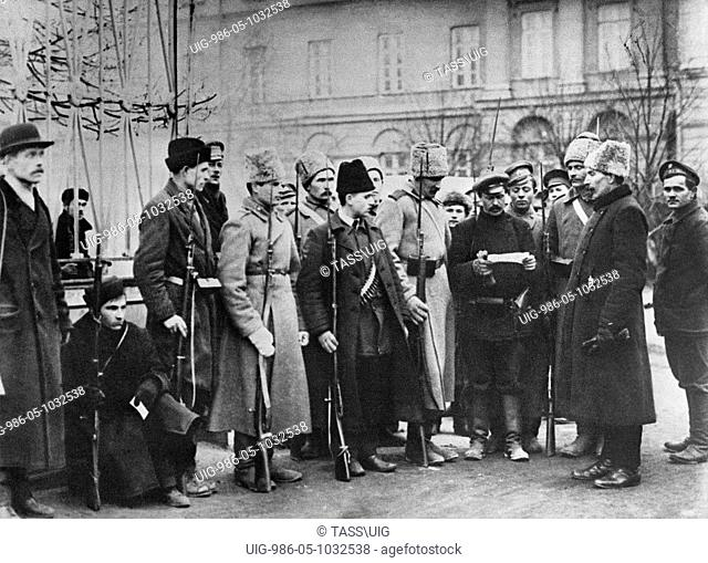 Control of valid passes near the Smolny, Petrograd in 1917