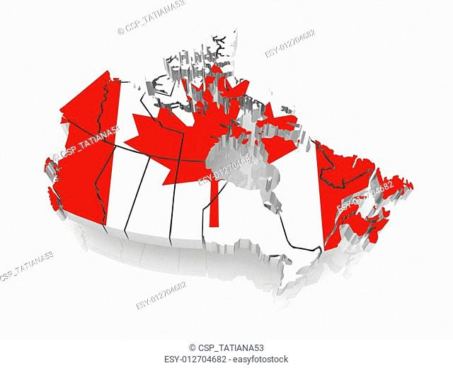 Three-dimensional map of Canada