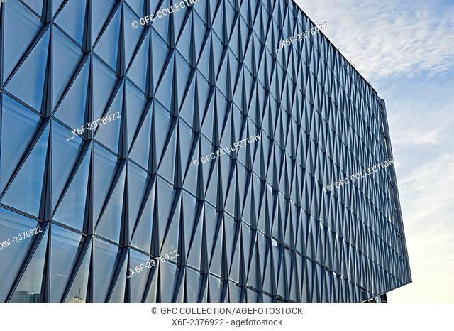 Self-shading quilted glass facade, West Facade, of the JIT Building, headquarters of Japan International Tobacco, JIT, by SOM Architects, Geneva, Switzerland