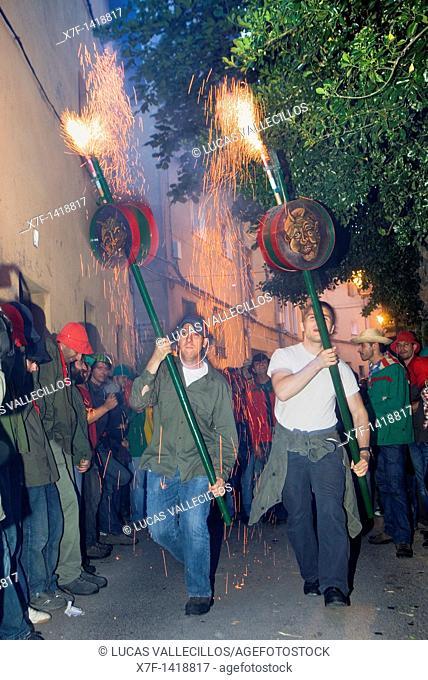 Parade `Maces'mazas La Patum Masterpiece of Oral and Intangible Heritage by UNESCO Berga  Barcelona  Catalonia  Spain