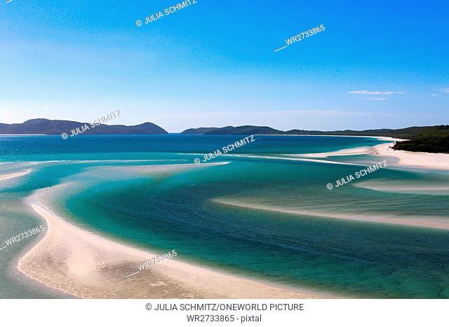 Australia, Whitsunday Islands, White Heaven Beach, view over the beach