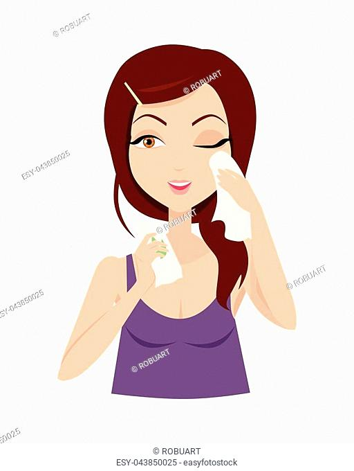 Moisturisation. Girl applying wet wipes which allows skin to breathe and gives fresh. Woman instruction how to make up correctly