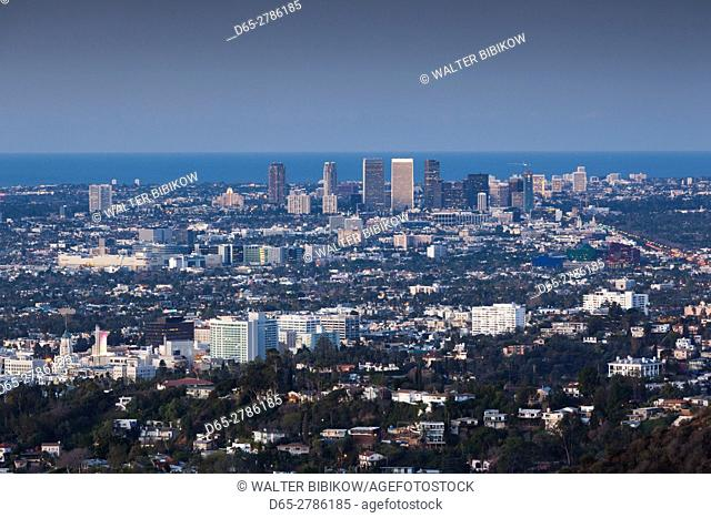 USA, California, Los Angeles, elevated view of Hollywood and Century City from the Hollywood Hills, dawn