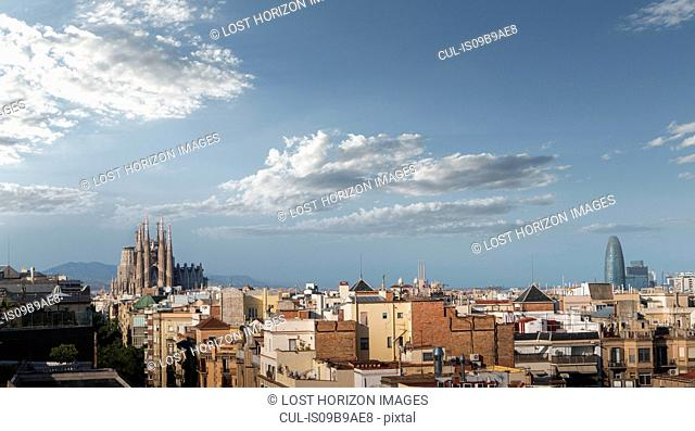 Sagrada Familia Cathedral and Agbar tower, Barcelona skyline, Catalonia, Spain, Europe