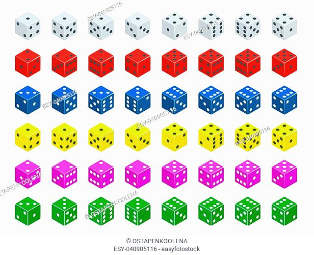 Set of isometric dice combination. White, red, yellow, green, blue and purple poker cubes vector isolated. Collection of gambling app and casino template