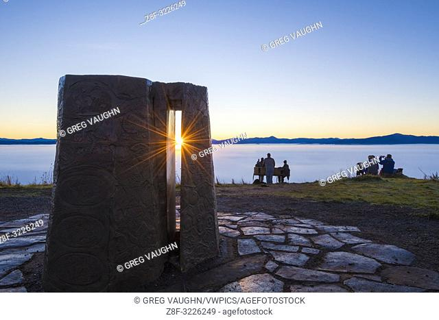 New Year's sunrise and the Kesey Memorial at the summit of Mount Pisgah; Howard Buford Recreation Area, Eugene, Oregon. Created by sculptor Pete Melzer