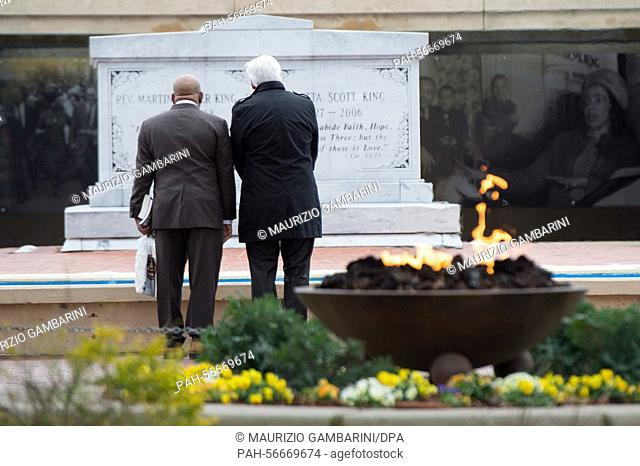 German Foreign Minister Frank-Walter Steinmeier (SPD,R) stands next to congressman John Lewis (Democrats, L) as he pays a visit to the tomb of civil rights...