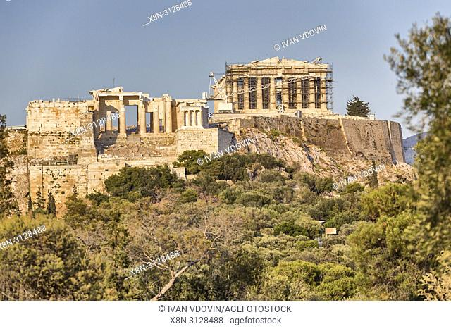Acropolis from Pnyx hill, Athens, Greece