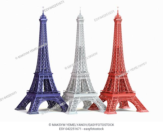 Three Eiffel Tower in colors of flag of France isolated on a white background. 3d illustration