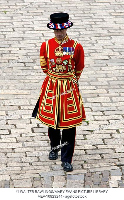 Beefeater at the Tower of London. Beefeater is the popular name for a Yeomen Warder of the Guard at the Tower of London