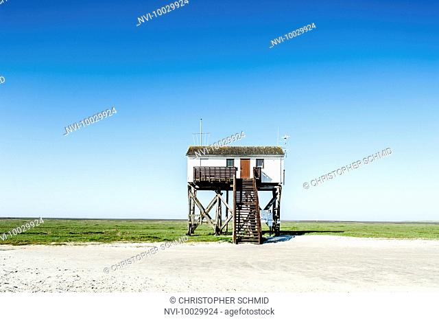 House on the beach of St. Peter Ording on the North Sea