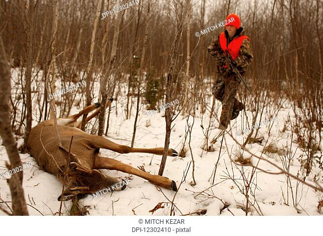 Youth Hunter With First Deer Kill