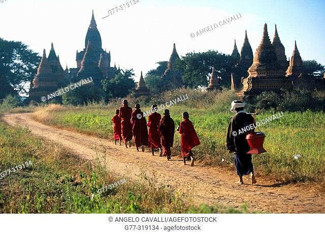 Young monks in morning alms. Bagan. Myanmar (Burma)