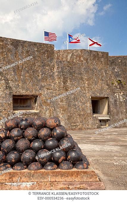 Interior of the San Cristobal Castle with cannon ball ammunition in San Juan, Puerto Rico, West Indies