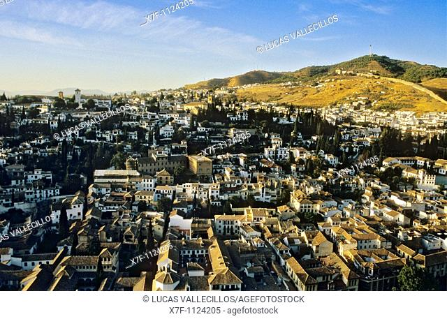 Albaicin district as seen from the Alhambra, Granada  Andalucia, Spain