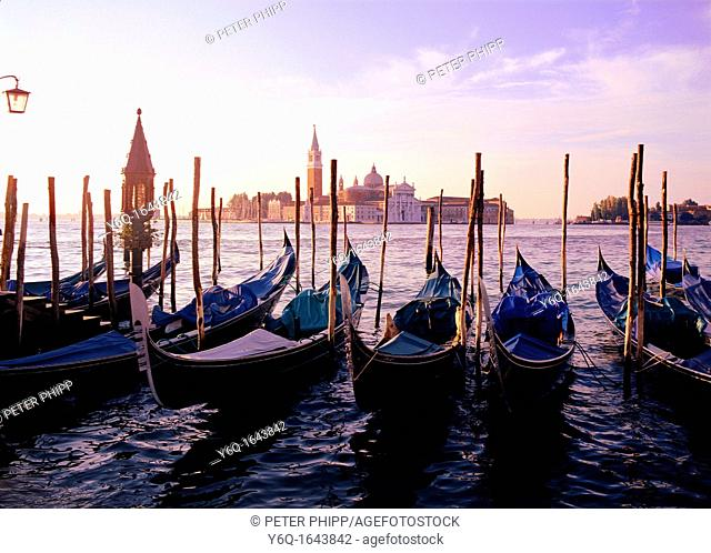 Venice with Gondolas at dawn, looking across to the Basilica di San Gorrgia Maggiore