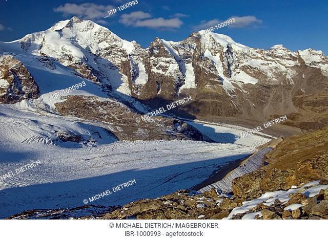 Morteratsch Glacier, Bernina Range with Piz Bernina, 4048 m above sea level, behind Piz Morteratsch, 3751 m above sea level, Buendner Alps, Kanton Graubuenden