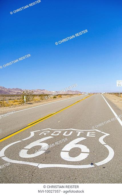 Route 66 through Amboy, Mojave Desert, San Bernardino County, California, USA