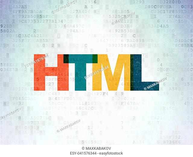 Database concept: Painted multicolor text Html on Digital Data Paper background