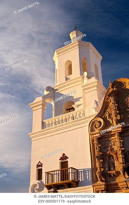 Sunset highlights Mission San Xavier, near Tucson, Arizona