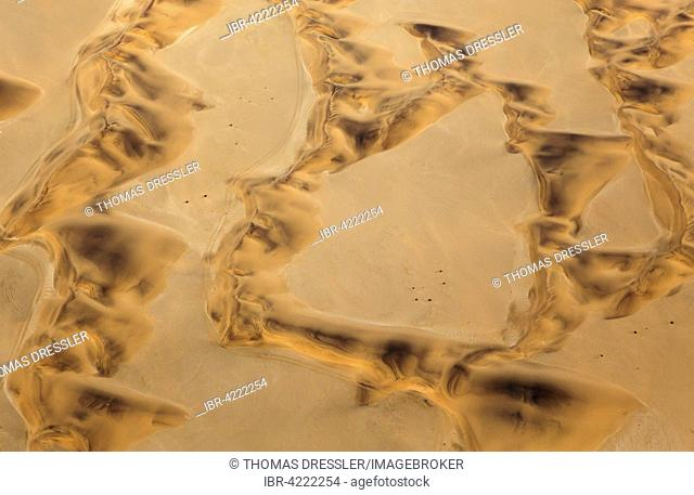 Sand dunes and quad bike tracks in Namib Desert near Swakopmund, aerial view, Namib Desert, Namibia