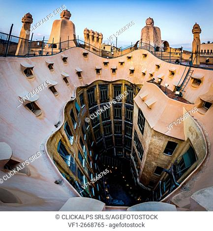 Barcellona, Spain. La Pedrera Rooftop, designed by Antonio Gaudi